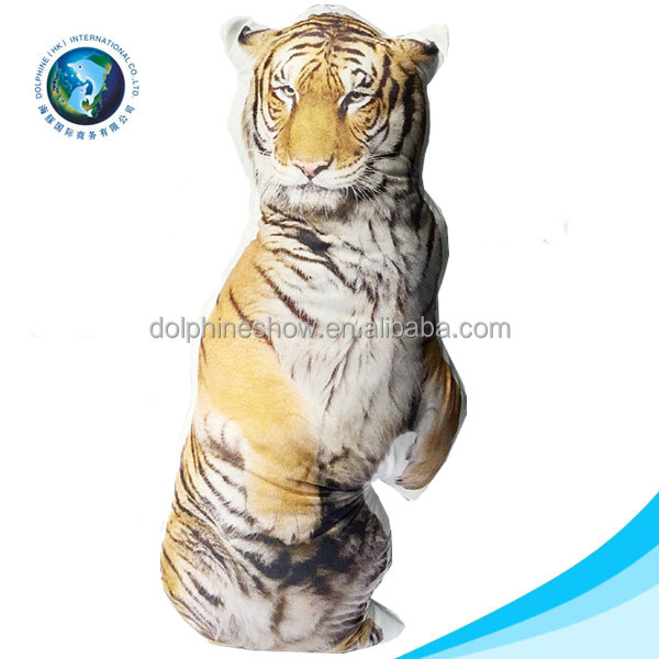 2016 Custom cute 3d digital printing plush tiger shaped decorative pillow