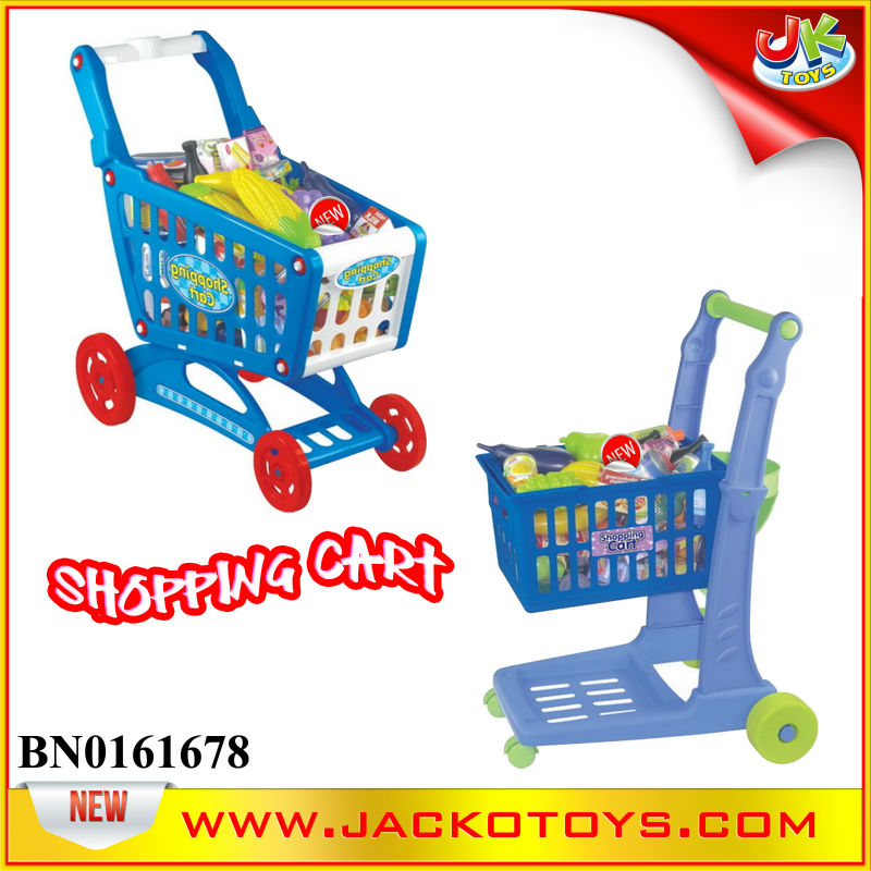 Kids Children's Pretend play Toy Plastic Trolley Shopping Cart +10 Kind of Fruit