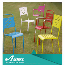 Colorful perforated outdoor metal table and chair picnic table