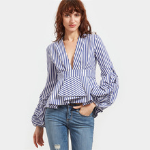 Custom european Professional latest fashion sexy deep v neck women casual blouse