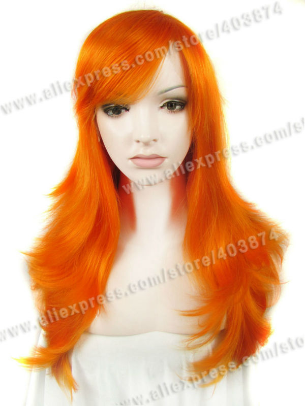 Hot sale Heat resistant Synthetic Orange lace front wigs