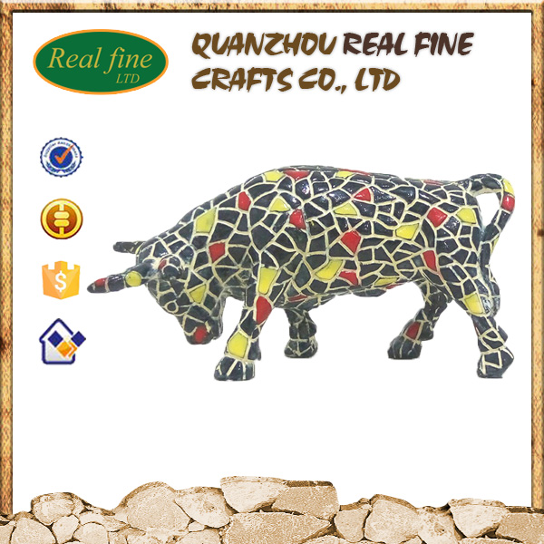 Wholesale lucky resin black bull for home decoration