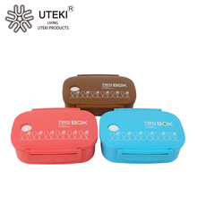 Designed 2 Compartment Plastic Bento Box with Spoon