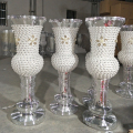 large Polystone footed mirrored mosaic floor standing wedding pillar vase big