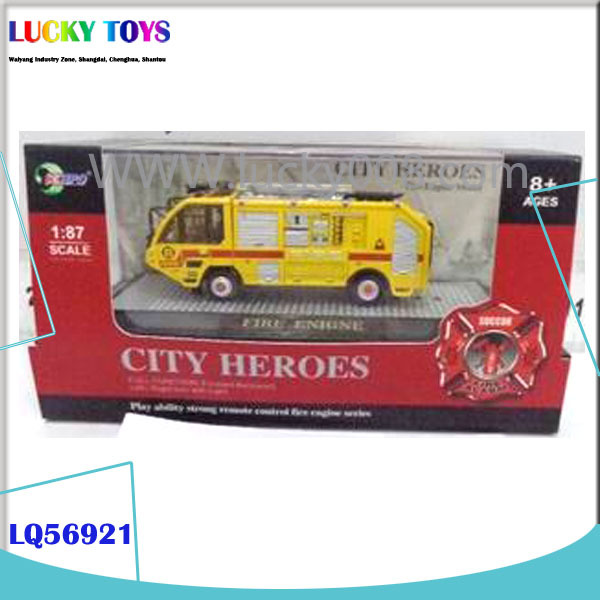 New 4 channel model truck scale car 1/87 alloy fire engine rc car gift for kids wholesale