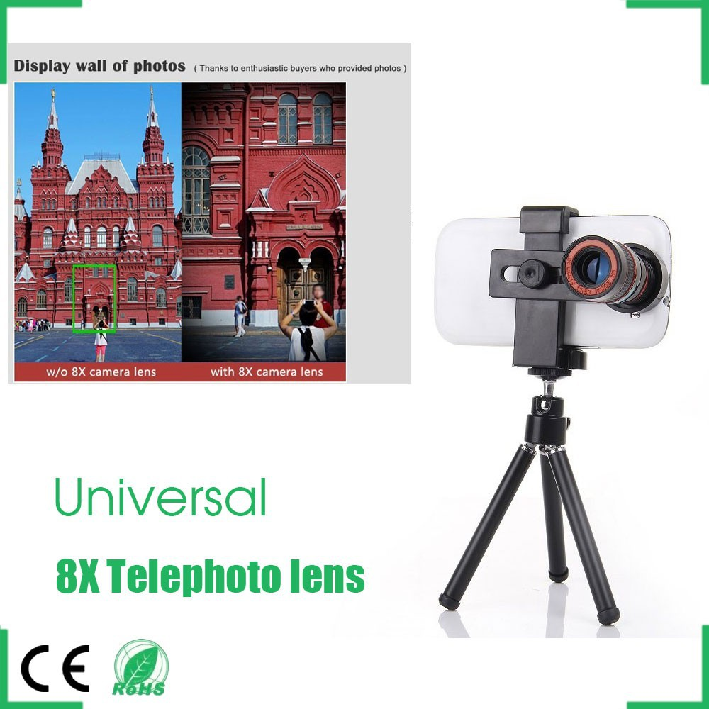 Smartphone Camera Lens 8X Telescope Mobile Zoom Telephoto for iPhone 4 4S 5 5S 6 Samsung Galaxy S S2 S3 S4 S5 Note 2 3