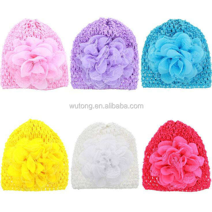 2017 New Chiffon Flower Girls Baby Hat Crochet Handmade Knitted Cute Hat Solid Baby Girl Cap