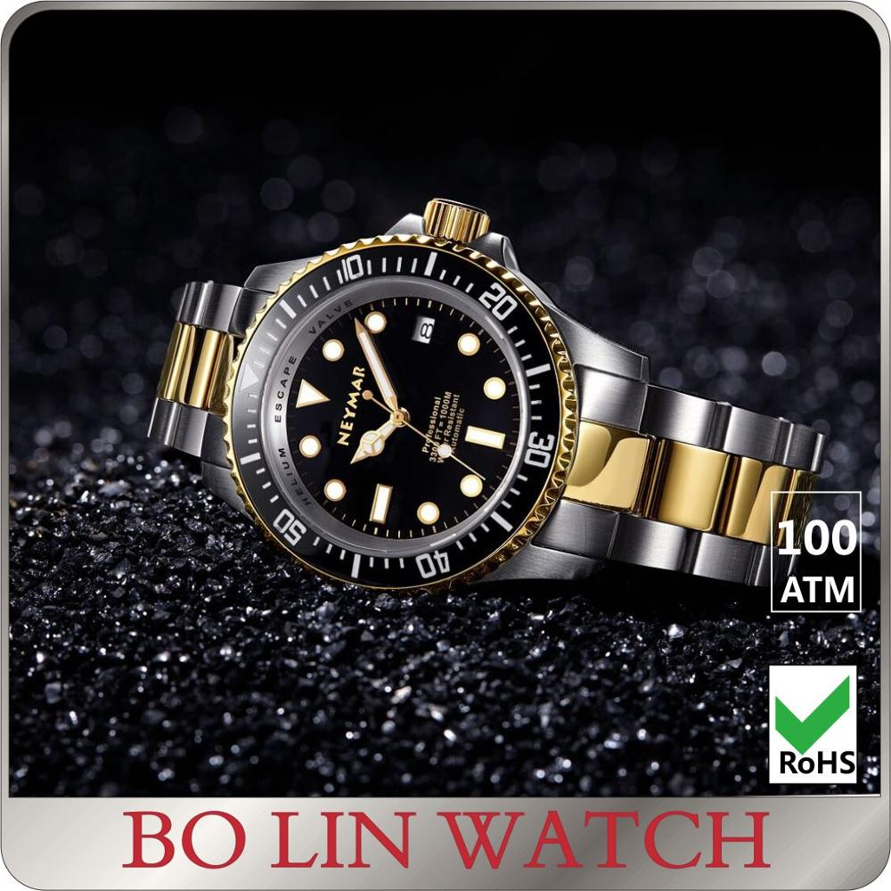 two tone plated gold watch, mens luxury watch, diver watch gold automatic