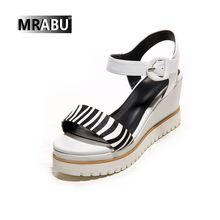 white genuine leather zebra stripe buckle strap fancy platform wedge heel women shoes wedge sandal 2017