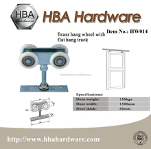 ISO Approved Brass Hang Wheel With Flat Hand Track Suspension Wheel Sliding Door Track Roller
