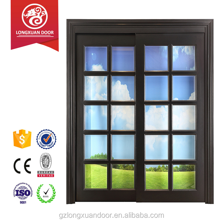 Typical 100% solid wood structed sliding glass door use for interior room entrance