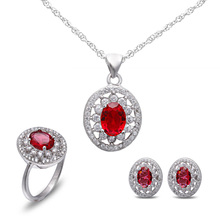 Best selling ruby 925 sterling silver jewelry set wholesale