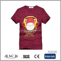 popular wholesale 100% cotton man dark red big neck t-shirt