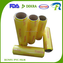 soft clear food packing casting pvc material cling film for packing