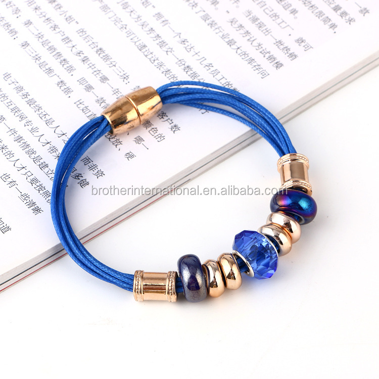 colorful multi layers magnetic clasp shiny beads bangle bracelet