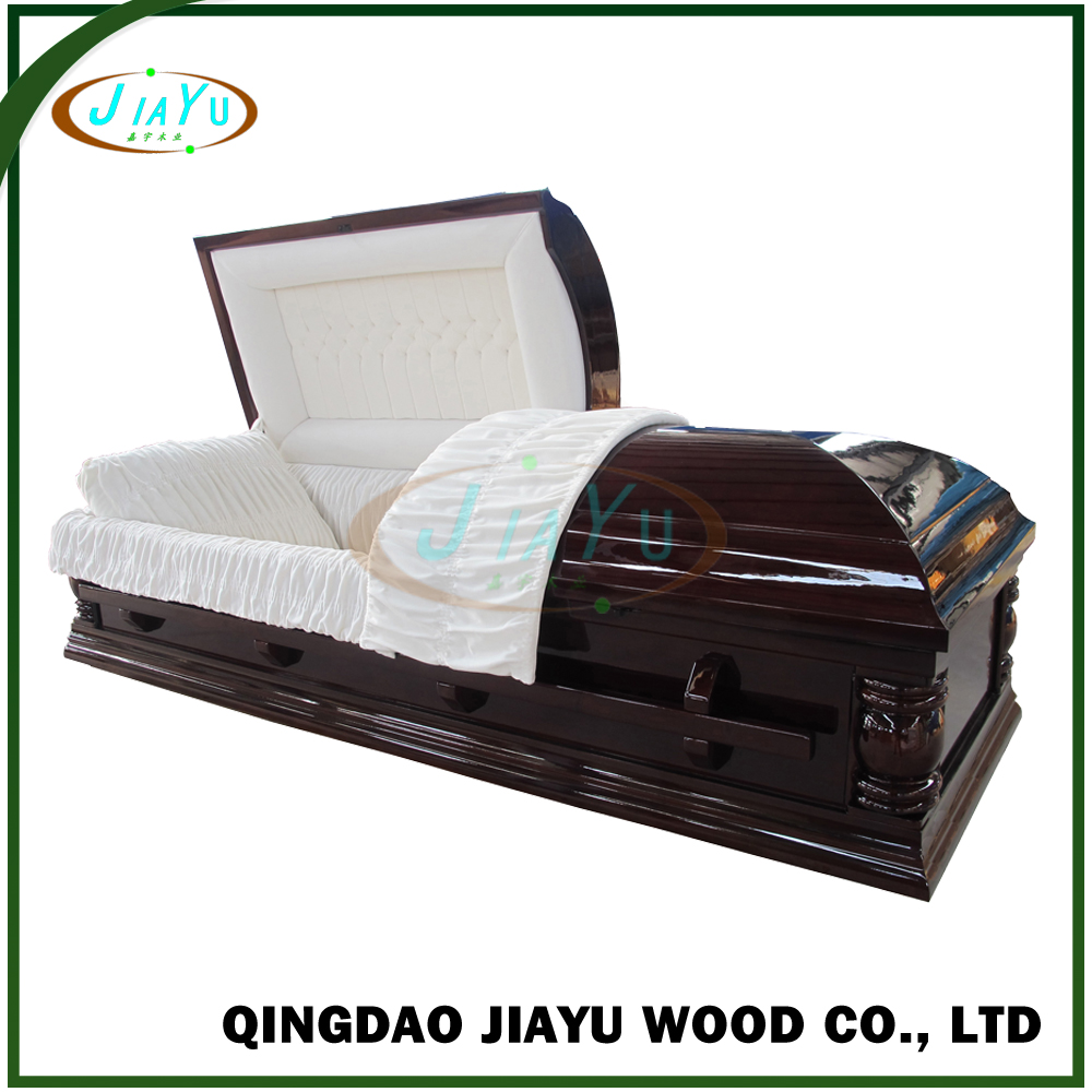 Qingdao supply quality selected wood coffin with metal zinc hardware