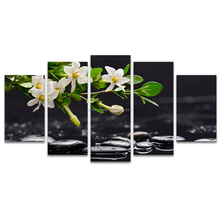 5 Pieces HD Printed White Flower Black Pebble Stone Still Life Canvas Art Prints for Living Room Home Wall Deocration/SJMT1912