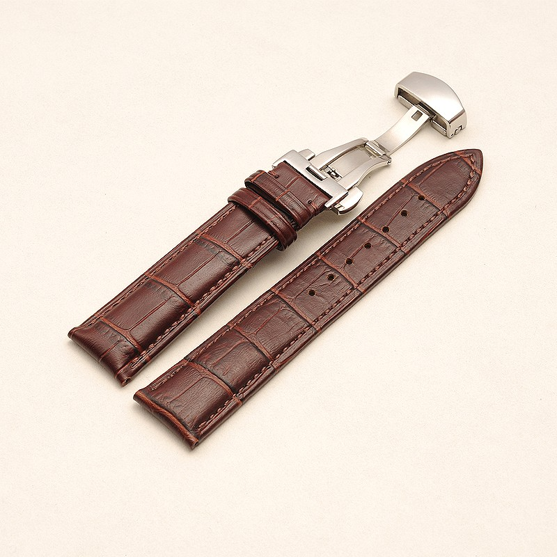 real leather watch strap fit men and women folding clasps