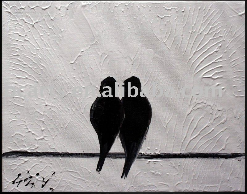 New design birds lover white and black art painting