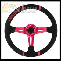 High Quality Universal Suede 14 Inch Drift Race Car Deep Steering Wheel