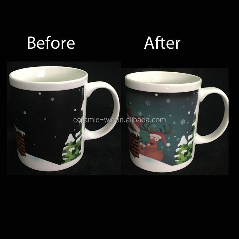 Merry Christmas Gifts Ceramic Heat Sensitive Color Changing Mugs