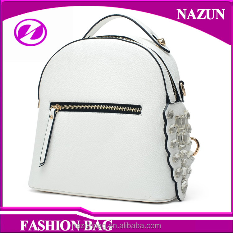 Latest Design Girls Fashion White Plain Color Ladies School Leather Backpack