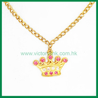 Shiny Crystal Crown Gold Plating rhinestone Necklace