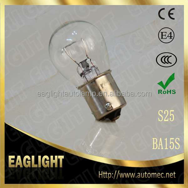 E-mark hot sale S25 P21W 12V21W BA15S Clear Automotive lighting bulb for stop light tail light