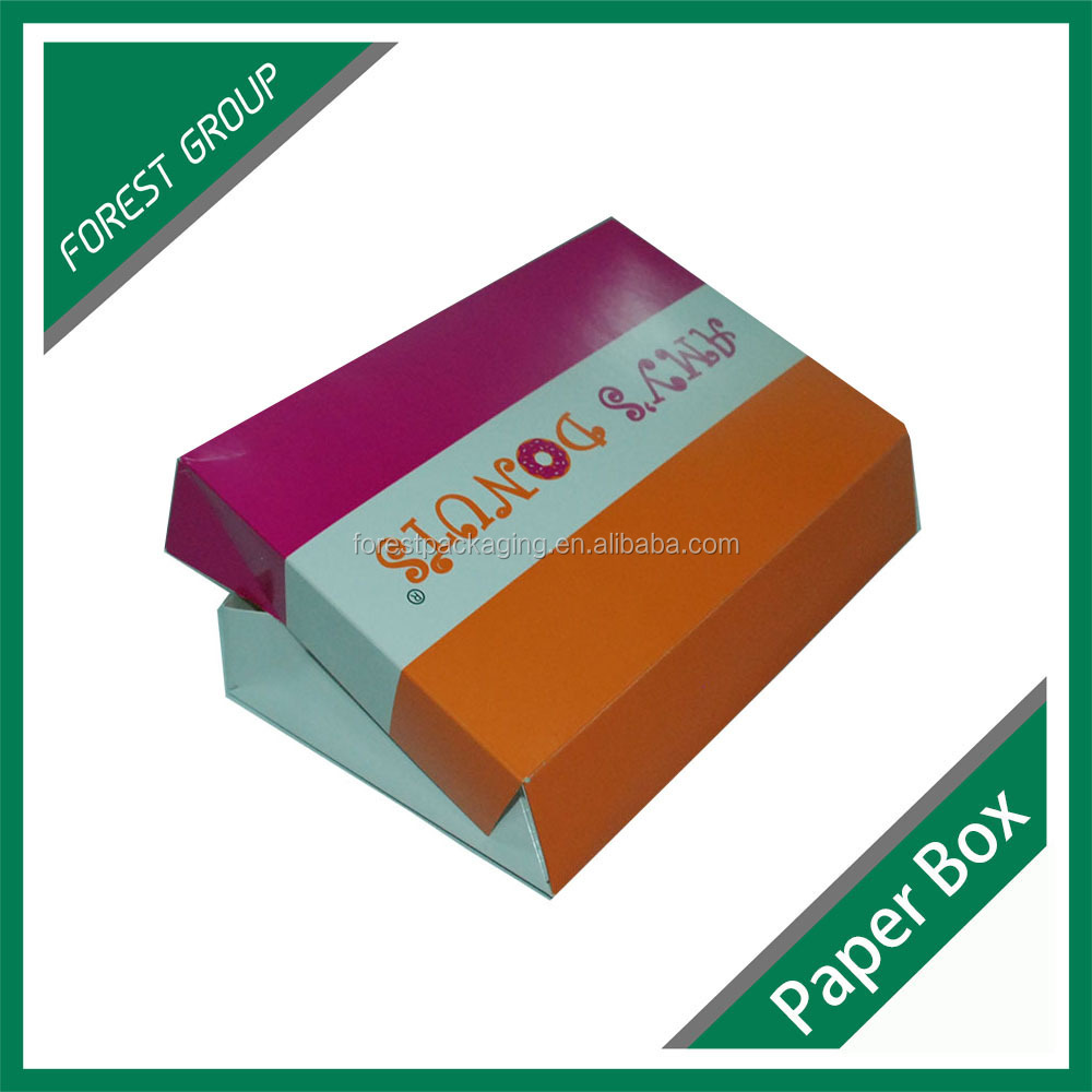 FOLDABLE RECYCLED PAPER CARDBOARD BOX FOR DONUTS PACKAGING