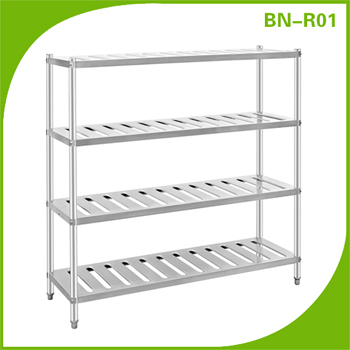 Wall Mounted Round Tube Pipe Stainless Steel Pot Store Rack/ Pot Shelf For Restaurant Kitchen Equipment