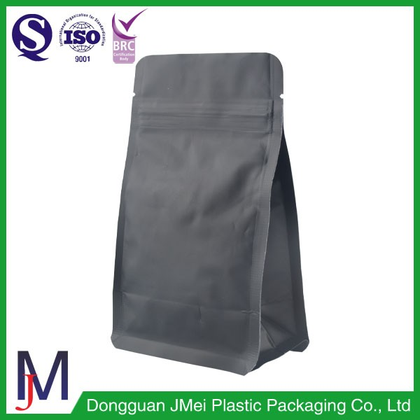 Resealable unprinted packing pouch zipper aluminum foil matte black coffee bag with valve