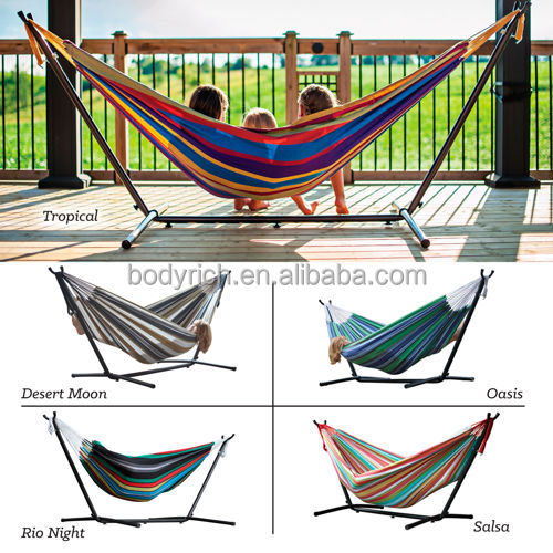 Heavy Duty Double Hammock Stand Outside Steel Frame Easily Assembled with Free Bag