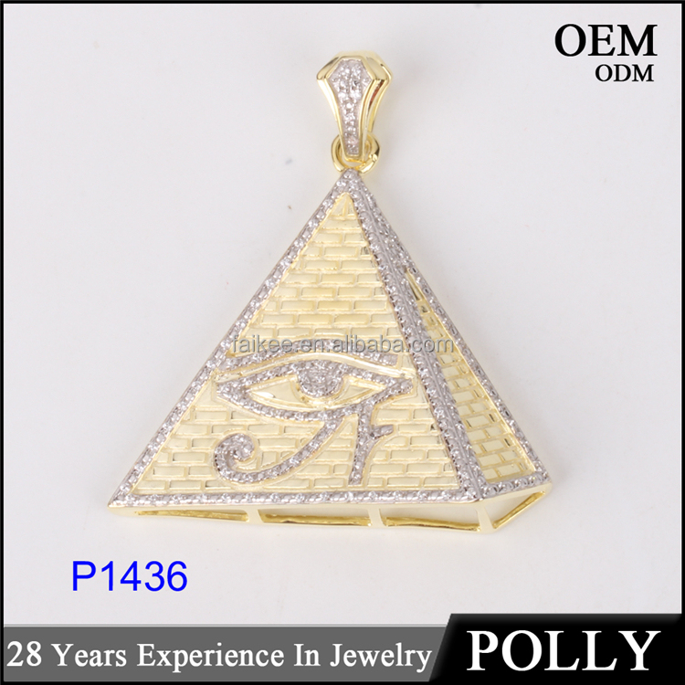 Custom micor pave cz pendants hip hop jewelry pyramid pendant