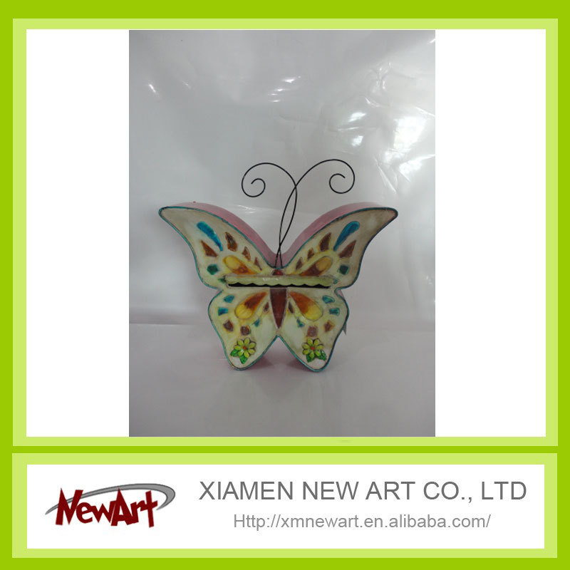 Butterfly mail box full color painting decorative wrought iron wall art
