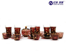 purple colfor with gold plated glass coffee tea sets 25Pcs Arabic Coffee sets and Tea Sets factory wholesale glass gawa coffee