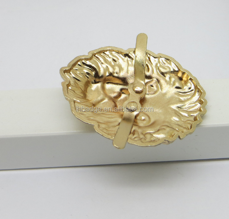 Shoes accessories new gold shoes buckle metal convex lion head with pins