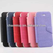 Wood Grain Leather Stand Case For iPhone 5C