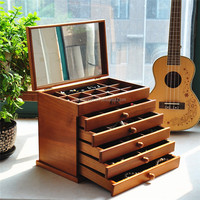 cherry wood color wooden ornaments box wood makeup drawer storage box