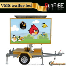 Mobile Solar Powered LED Traffic Signs Trailer LED Full Matrix Solar Vms Trailer With 12V Solar Power Supply