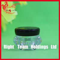 unique cosmetic containers special shape glass jar with black plastic screw lid