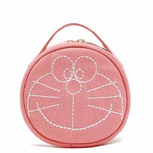 Cartoon portable zipper round canvas bag make up