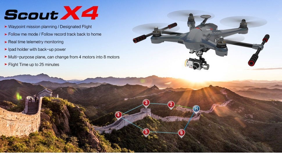Walkera Scout X4 RTF FPV RC Quad w/ Gimbal, iLook+ and Devo F12E