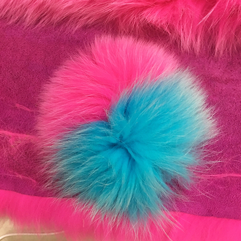 Newest Fashion Colorful Fox And Raccoon Fur Pom Pom Ball With Leather Strip Keyring For Bags