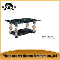 Hot sale round screen side tempered glass coffee table from Tianma furniture