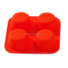 FDA LFGB approved 4 cups orange color square shape silicone mini bakeware