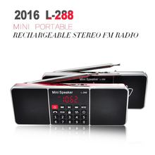 2016 L-288 Mini Portable Rechargeable Stereo FM Radio Speaker LCD Screen Support TF Card USB Disk MP3 Music Player Loudspeaker