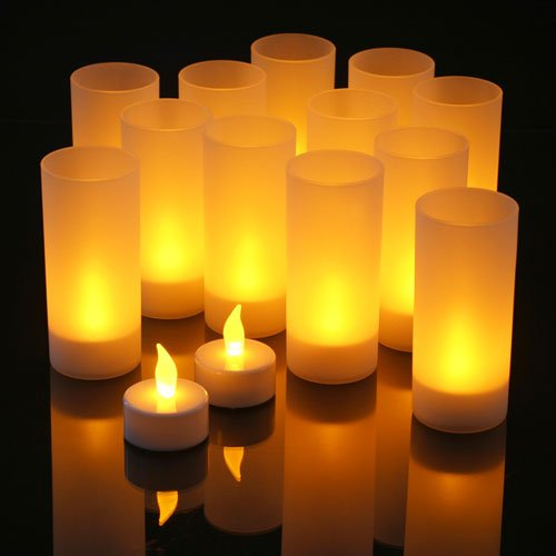 LED Rechargeable Flameless Tea Light Candles with Difused Votives. Set of 12