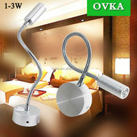1w 110V 220V flexible snake led wall mounted lamp hotel bedside light black