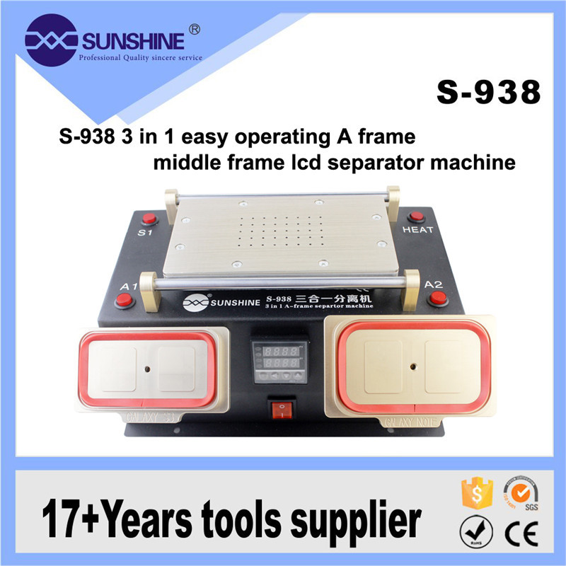 S-938 LCD Separator Glue Disassemble +Middle Frame Remover +Preheat Machine