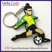 Custom personalised 3d football pvc silicone keyrings for sports souvenir